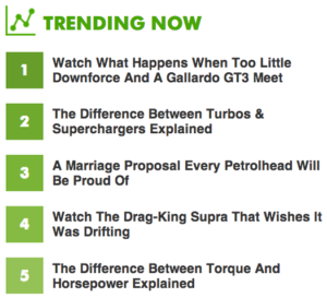 Car Throttle Top Content using GoSquared API